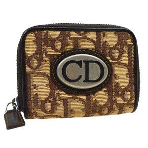 Christian Dior Trotter Coin Purse Wallet Brown Bei
